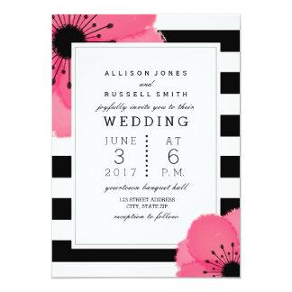 Negro floral de la anémona rosada + Boda blanco de Invitación 12,7 X 17,8 Cm