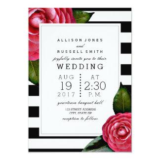 Negro floral de los rosas rosados + Boda blanco de Invitación 12,7 X 17,8 Cm