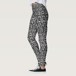 Negro floral del vintage leggings