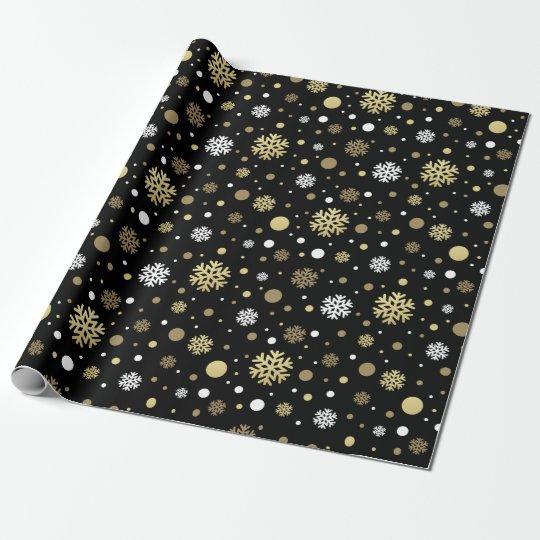Negro fresco con clase de los copos de nieve del papel de regalo