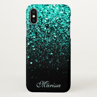 Negro fresco del purpurina verde verde azulado funda para iPhone x