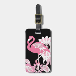 Negro fresco femenino del flamenco rosado etiqueta para maletas