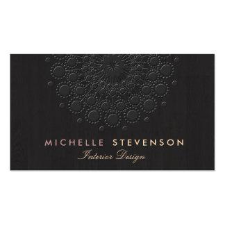 Negro grabado en relieve elegante de la mirada del tarjetas de visita