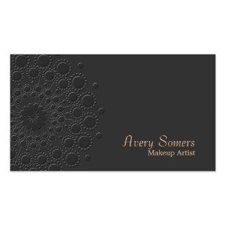 Negro grabado en relieve elegante del rosetón del tarjetas de visita