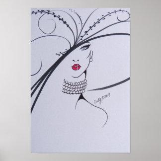 Negro hermoso y poster blanco del ejemplo de la póster