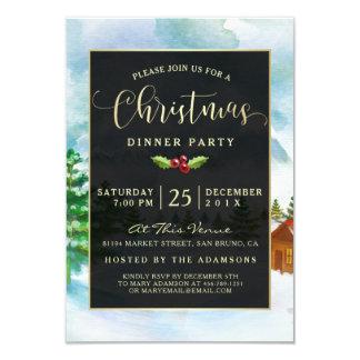 Negro lindo y oro en la fiesta de Navidad de la Invitación 8,9 X 12,7 Cm