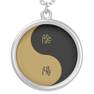 Negro marrón de Yin Yang n del kanji Collar Plateado