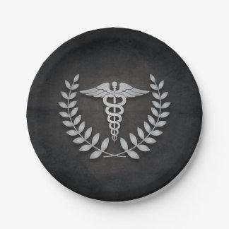 Negro + Médicos fiesta del caduceo de plata Platos De Papel