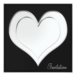 Negro metálico de plata bonito del acontecimiento invitación 13,3 cm x 13,3cm