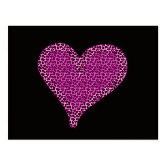 negro moderno elegante del corazón del estampado postal