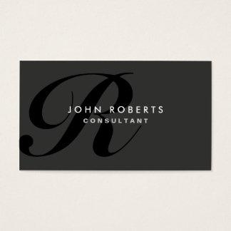 Negro moderno elegante profesional del monograma tarjeta de negocios