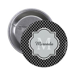 Negro moderno Quatrefoil blanco del monograma con Chapa Redonda 5 Cm