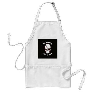Negro oscuro de Halloween del cráneo asustadizo Delantal