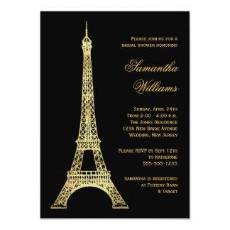 Negro parisiense de la torre Eiffel y ducha Invitación 11,4 X 15,8 Cm
