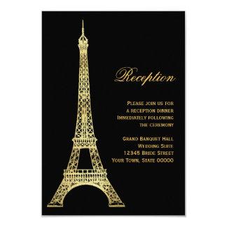 Negro parisiense de la torre Eiffel y tarjeta de Invitación 8,9 X 12,7 Cm