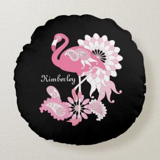 Negro personalizado elegante lindo del flamenco cojín redondo