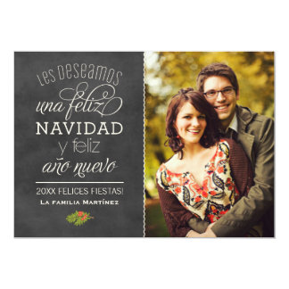 Negro Pizarra de Feliz Navidad y Año Nuevo Deseos Invitación 12,7 X 17,8 Cm