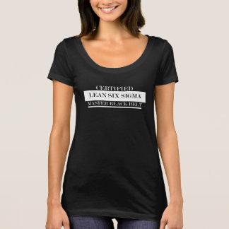 Negro principal magro certificado de la camiseta