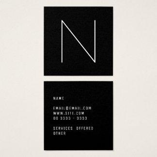 Negro profesional llano mínimo elegante tarjeta de visita cuadrada