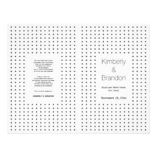 Negro, programa doblado boda geométrico blanco folleto 21,6 x 28 cm