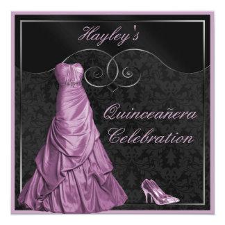 Negro púrpura atractivo Quinceanera del vestido de Invitación 13,3 Cm X 13,3cm
