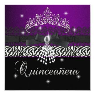 Negro púrpura de la fiesta de cumpleaños de invitación 13,3 cm x 13,3cm