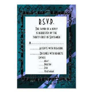 Negro R.S.V.P que se casa formal del damasco del Invitación 8,9 X 12,7 Cm