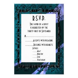 Negro R S V P que se casa formal del damasco del t Invitacion Personalizada
