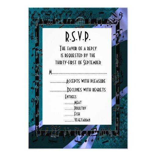 Negro R.S.V.P que se casa formal del damasco del t Invitacion Personalizada