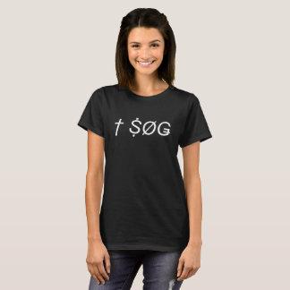 Negro recto de la camiseta del logotipo del