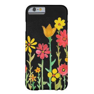 Negro retro de la flor por Megaflora Funda De iPhone 6 Barely There
