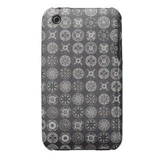 negro retro de los círculos iPhone 3 funda
