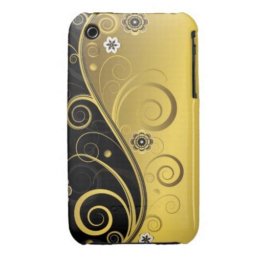 Negro retro elegante y remolino floral del oro Case-Mate iPhone 3 carcasa