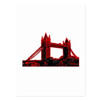Negro rojo 3 del puente de Inglaterra Londres el Postal