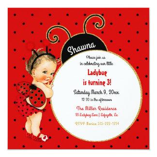 Negro rojo de la pequeña niña de la mariquita invitación 13,3 cm x 13,3cm