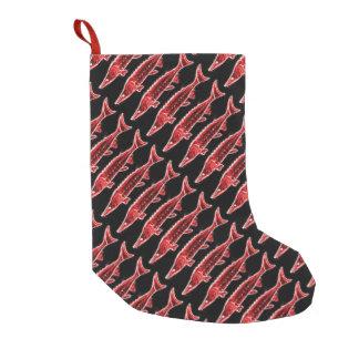 negro rojo de los esturiones calcetín de navidad pequeño