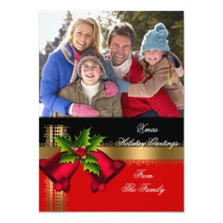 Negro rojo del oro de los saludos del navidad del invitación 11,4 x 15,8 cm
