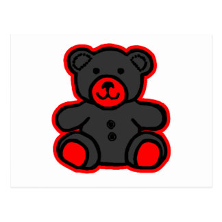 Negro rojo del oso de peluche los regalos de postales