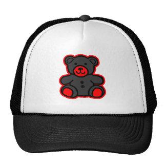 Negro rojo del oso de peluche los regalos de Zazzl Gorros