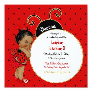 Negro rojo del pequeño chica afroamericano de la invitación 13,3 cm x 13,3cm