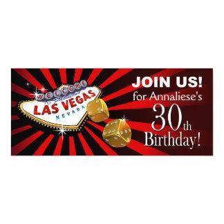negro rojo del trigésimo cumpleaños de Las Vegas Invitación 10,1 X 23,5 Cm