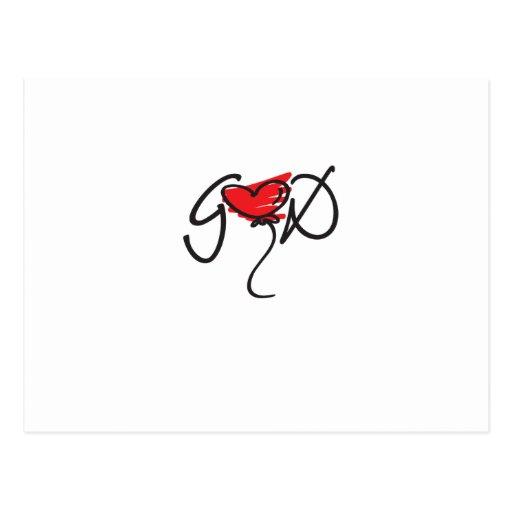 Negro/rojo en el diseño blanco de DIOS que eleva Postales