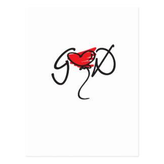 Negro/rojo en el diseño blanco de DIOS que eleva Postal