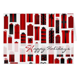 Negro rojo envuelto lindo de los presentes buenas tarjeta de felicitación