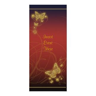 Negro rojo floral del fiesta de la mariposa invitación 10,1 x 23,5 cm