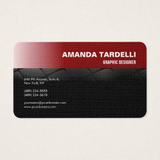 Negro rojo minimalista elegante futurista moderno tarjeta de visita
