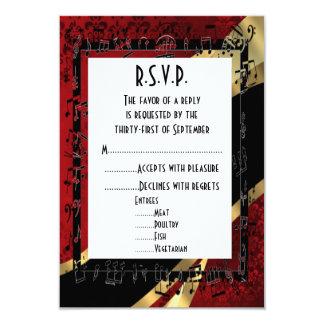 Negro rojo y oro R.S.V.P que se casa formal del Invitación 8,9 X 12,7 Cm