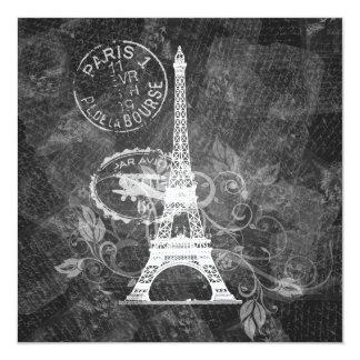 Negro romántico de París de la ducha nupcial Invitación 13,3 Cm X 13,3cm