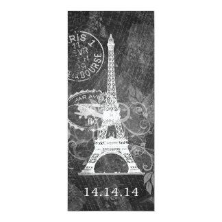 Negro romántico de París del menú elegante del Invitación 10,1 X 23,5 Cm