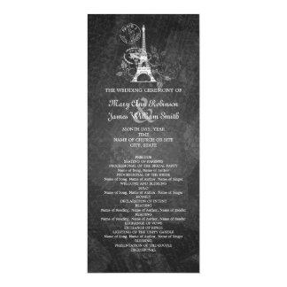 Negro romántico de París del programa elegante del Invitación 10,1 X 23,5 Cm